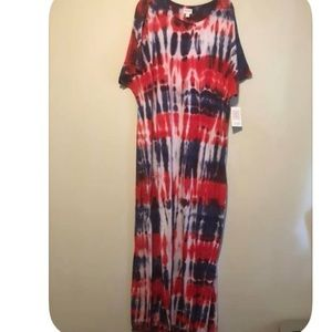 Red white and blue tie dye Lularoe Maria NWT